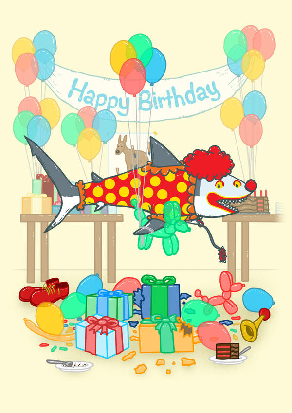The Birthday Party Clown Shark by nickv47