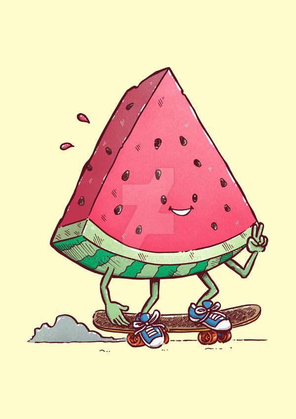 Watermelon Slice Skater by nickv47