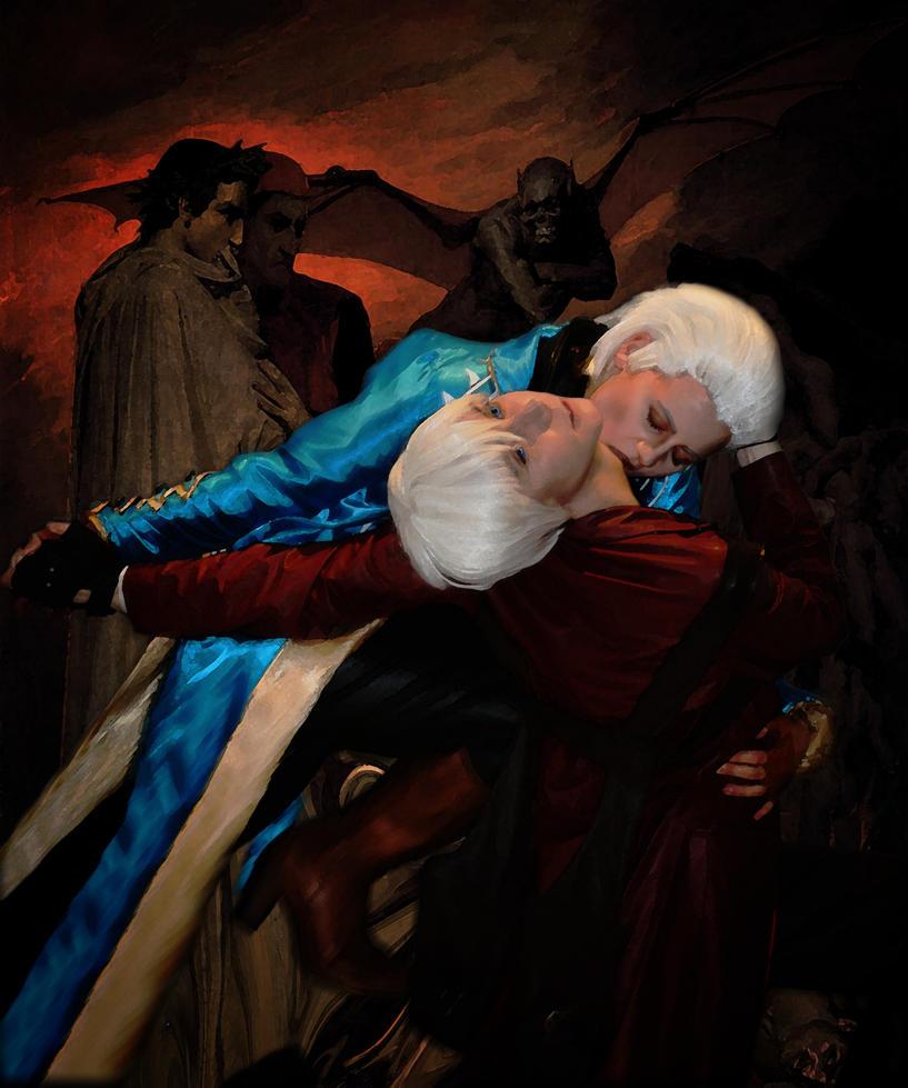 Dante and Vergil in hell by Ruksanada