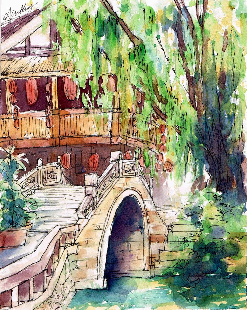 Postcard Series: White Stone Bridge by annsquare