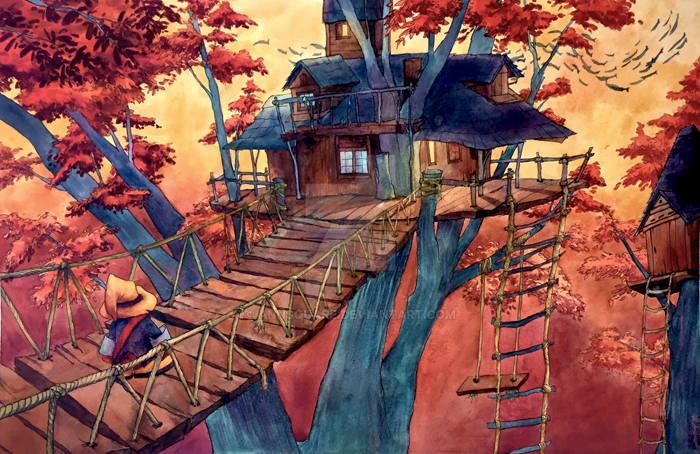 Commission: Fantasy Treehouse by annsquare