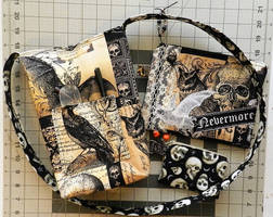 Poe Book Bag, Zip Pouch, and Keychain Pouch by HappyHermitSoap