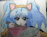 Neko Ruri Eating Ramen(Martian Successor Nadesico)