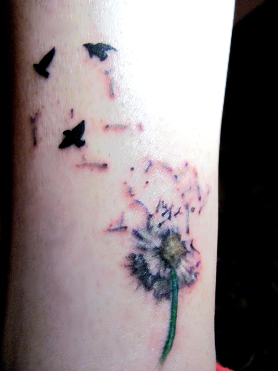 dandelion and birds tattoo by fenrirofparadise