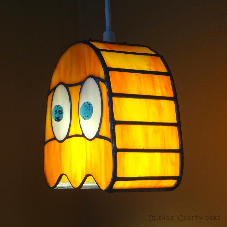Clyde   PacMan Ghost   Stained Glass Lamp By Devilxkat ...