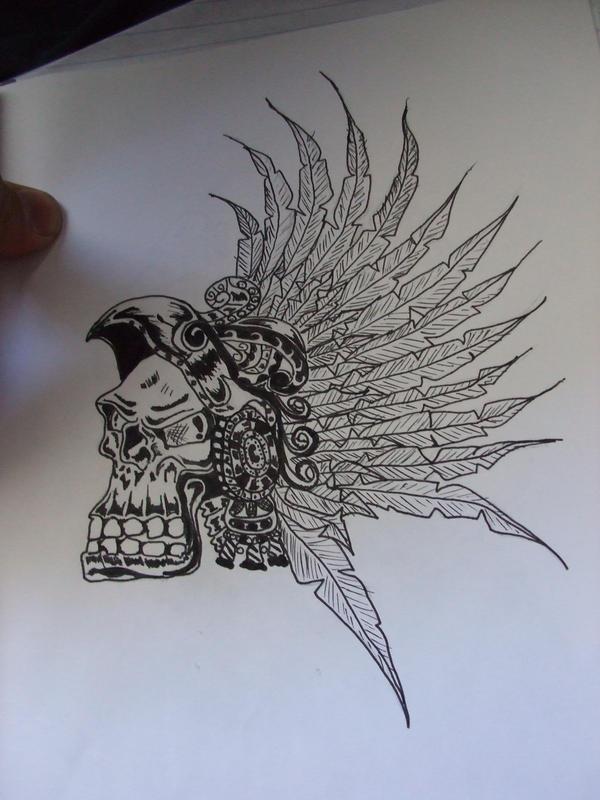 Aztec Skulls Drawings Aztec skull by naruneji