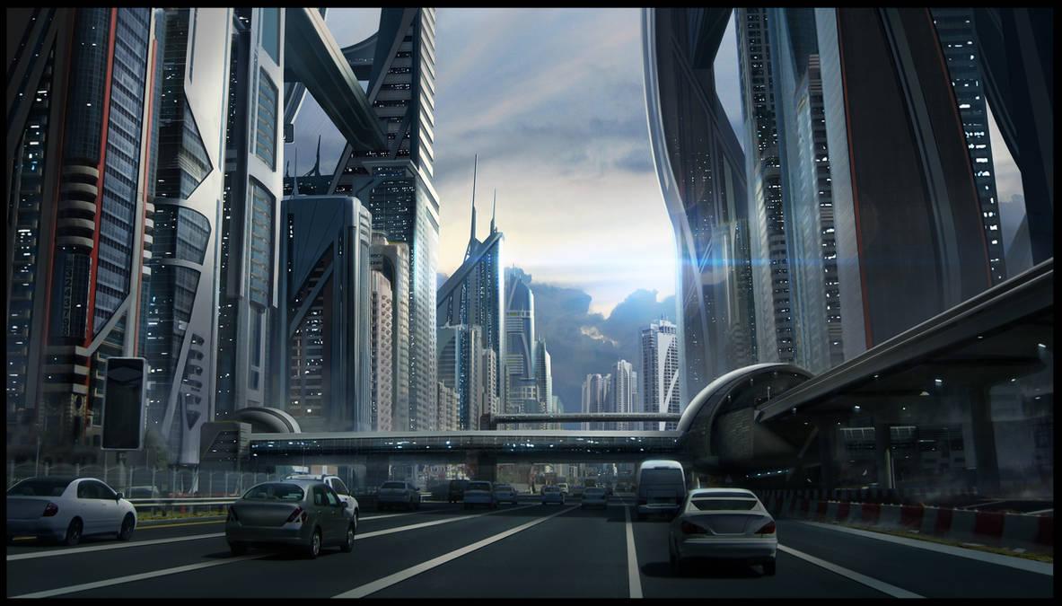 Sci-fi Cityscape by SebastianWagner