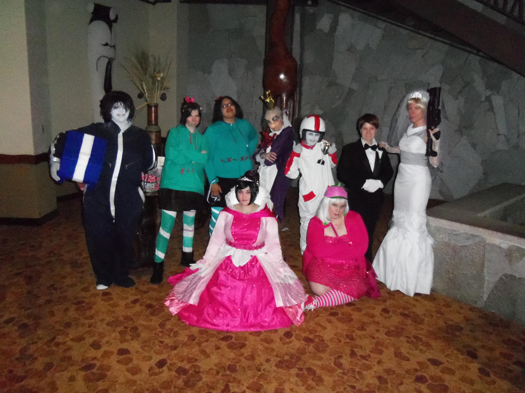 Turbo tastic shot group of cosplayer for the movie quot wreck it ralph