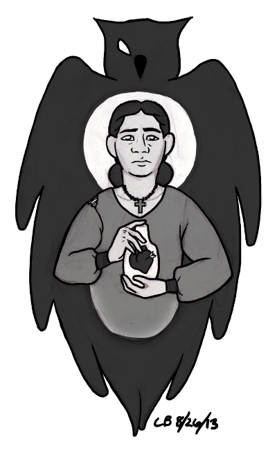 an illustration of a girl, hair pulled back, wearing a torn dress, with a bottle in her hands.  Her expression is one of suppressed grief and determination.  She is enveloped by a dark silhouette of an owl's wings.