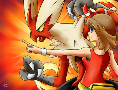 May and Mega Blaziken by KrlosKmask