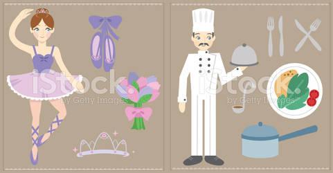Ballerina and Chef iStockphoto Illustrations