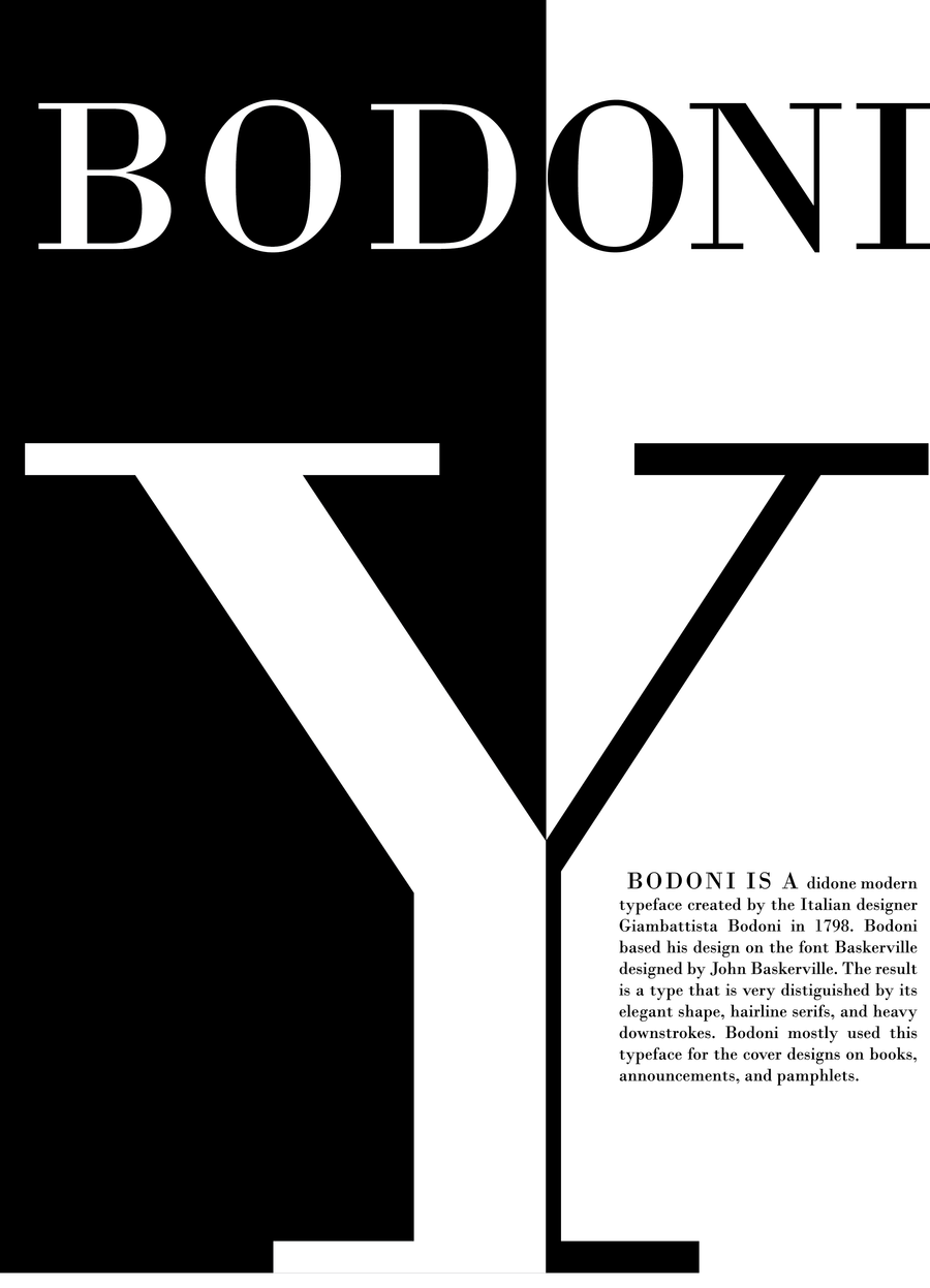 bodoni typeface poster by l young on deviantart
