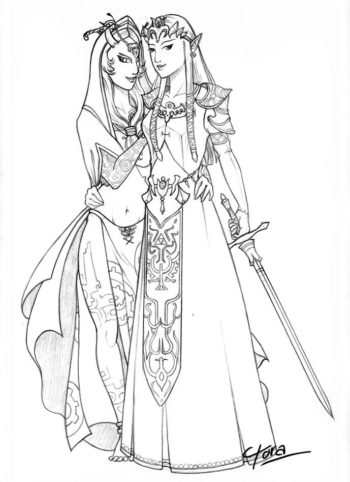 Zelda and midna by tigressinger on deviantart for Zelda coloring page