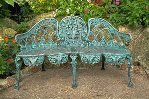Ornate Iron Bench by Lizzie-Bitty
