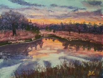 Sun Set at Grandpa's Pond by Jlombardi