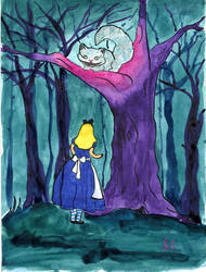 Alice meets Cheshire Cat by Jlombardi