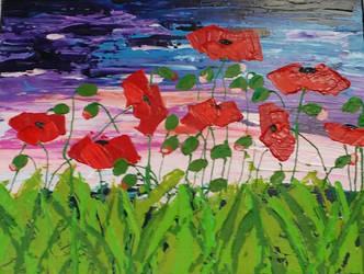 Poppy Field at Sunset by Jlombardi