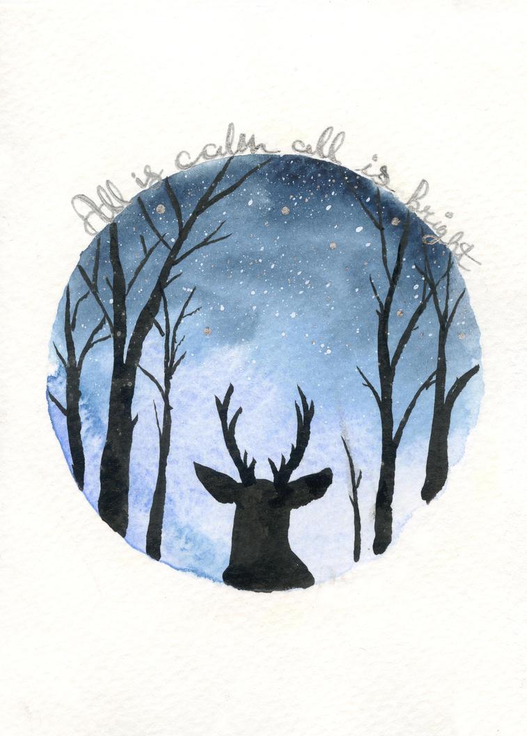 Deer Silhouette on Starry Sky by Jlombardi