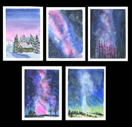 Christmas Card Collection Starry Skys by Jlombardi