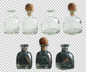 Small glass bottle PNG