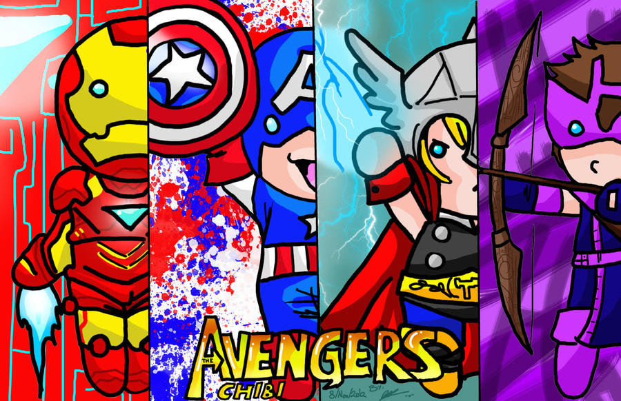 The Chibi Avengers by ruzovymonster