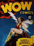 Golden Age Mary Marvel on the cover of WOW comics