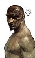 Bald angry man