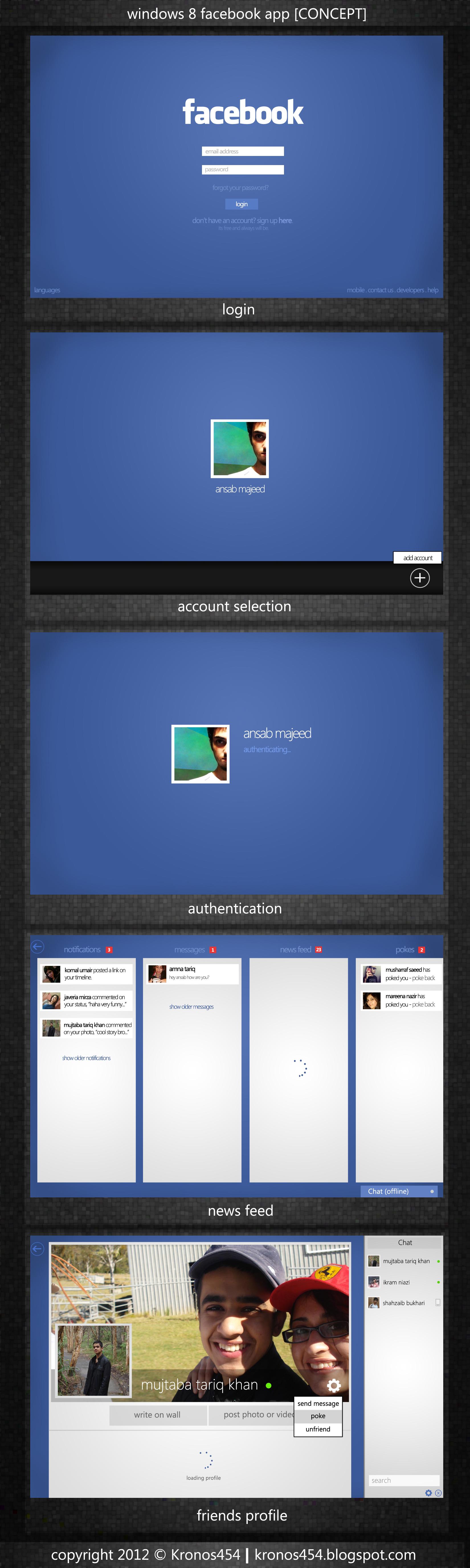 Windows 8 Metro Facebook App by Kronos454