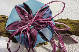 Blue and violet flower pouch by Ravensilver