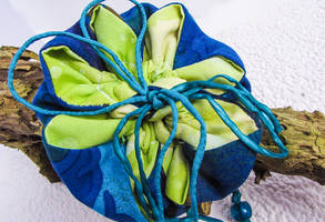 Blue and green flower pouch by Ravensilver