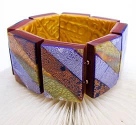 Striped Gold Purple Blue Copper Bracelet by Ravensilver