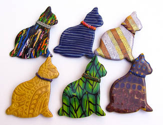Polymer Clay Cats Pendants by Ravensilver