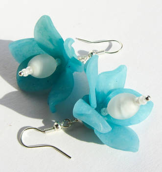 Fairy Flower Earrings Turquoise by Ravensilver