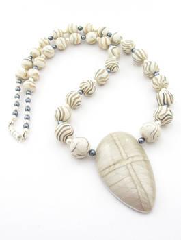 Silver and white Mokume Gane Necklace