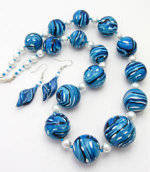 Polymer Clay Blue Bead Necklace