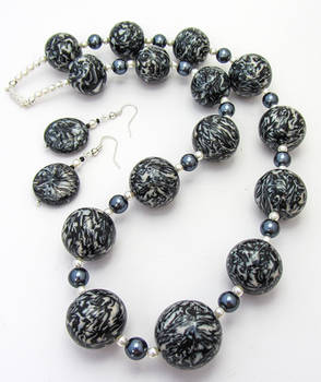 Polymer Clay Black Marbled Bead Necklace