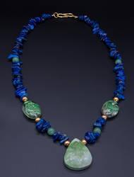 Necklace green blue lapis lazuli jade