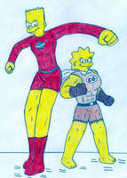 Stretch Dude and Clobber Girl by Jose-Ramiro