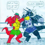 Boxing Jake Long vs Dark Dragon by Jose-Ramiro