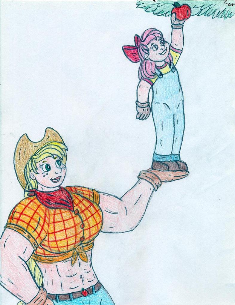 Human Muscular Applejack - Sisterly Love by Jose-Ramiro