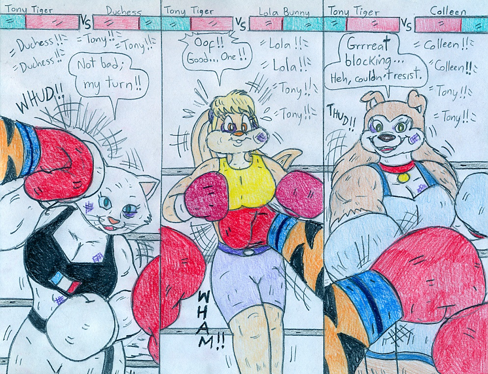 Boxing You Tony Tiger Vs Anthro Gals By Jose Ramiro On Deviantart