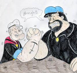 Popeye and Bluto Arm-Wrestling