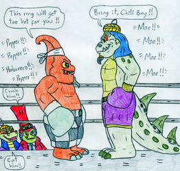 Boxing Chef Pepper Jack vs Komodo Moe by Jose-Ramiro