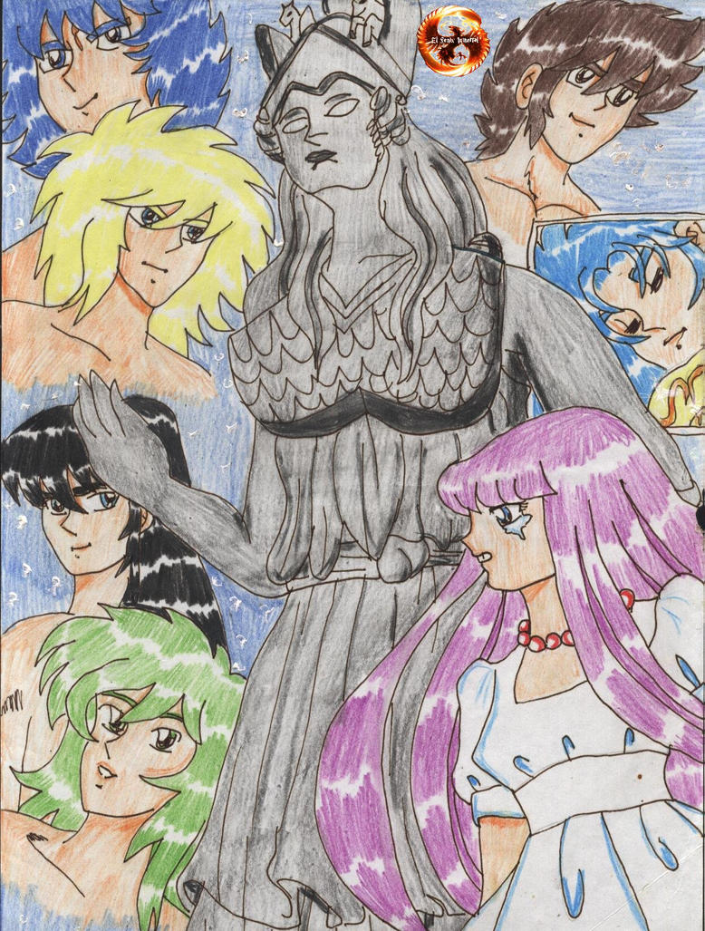 Athena-y-caballeros-by-el-fenix-inmortal by EL-FENIX-INMORTAL