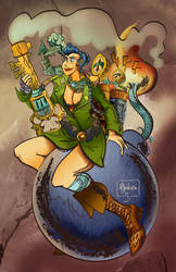 Steam punk Bomber Girl Done by mannycartoon