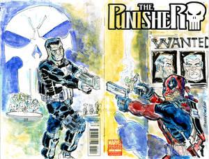 Sketch Cover Punisher vs Dedpool