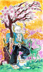 Usagi Yojimbo under Cherry Blossoms