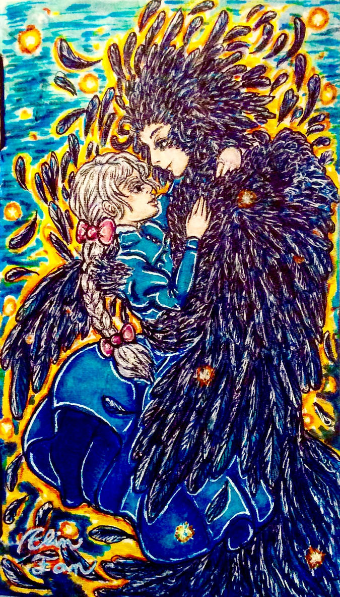 Howl and Sophie (Inktober 2016) by elinfan