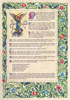 St. Michael Archangel Mediaeval-style Illumination