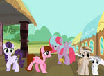 Ponies in train station